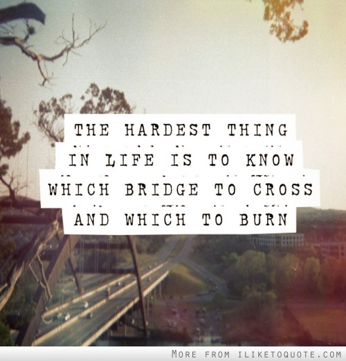 The hardest thing in life is to know which bridge to cross and which to burn.