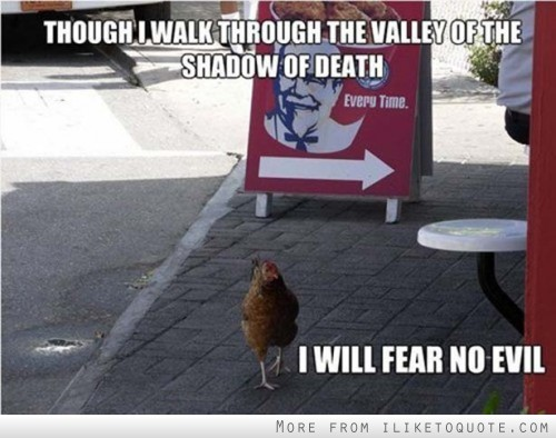 Though I walk through the valley of the shadow of death, I will fear no evil.