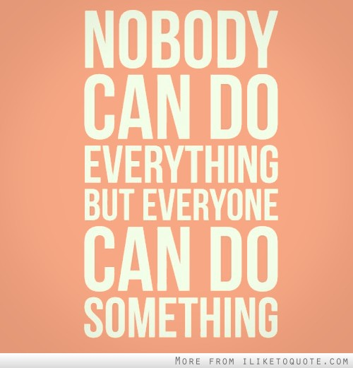 Nobody can do everything, but everyone can do something