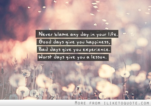 Never blame any day in your life. Good days give you happiness, bad days give you experience, worst days give you a lesson.