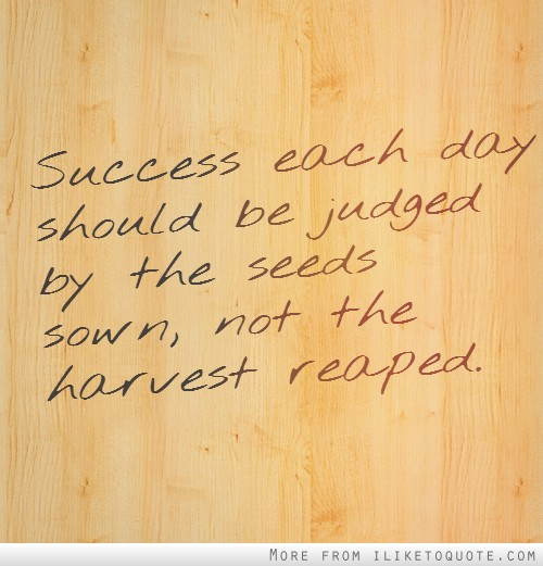 Success each day should be judged by the seeds sown, not the harvest reaped