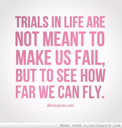 Trials in life are not meant to make us fail, but to see how far we can fly.