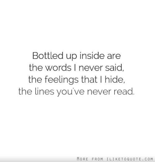 Bottled up inside are the words I never said, the feelings that I hide, the lines you've never read.