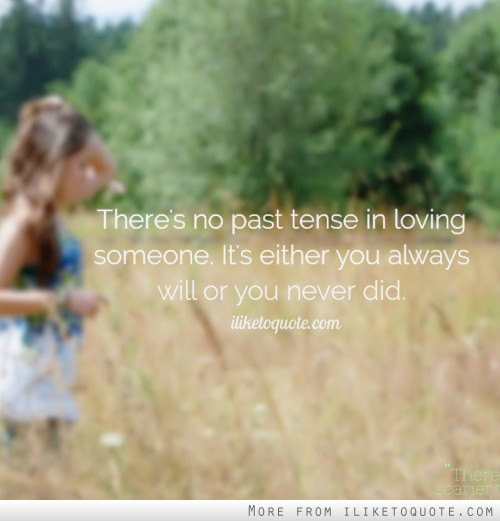 There's no past tense in loving someone. It's either you always will or you never did.