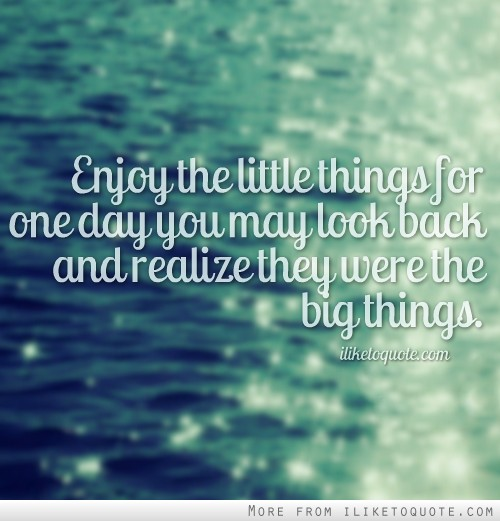 Enjoy the little things for one day you may look back and realize they were the big things.