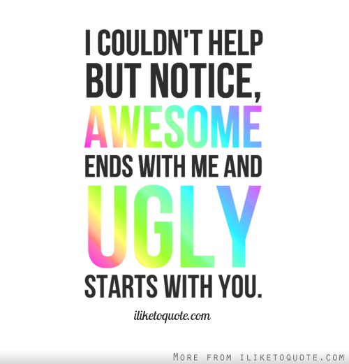 I couldn't help but notice, awesome ends with me and ugly starts with you.