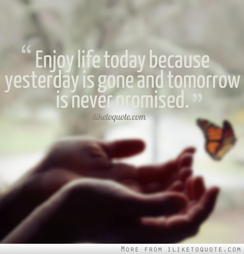 Quote For Today About Life Endearing Enjoy Life Today Because Yesterday Is Gone And Tomorrow Is Never