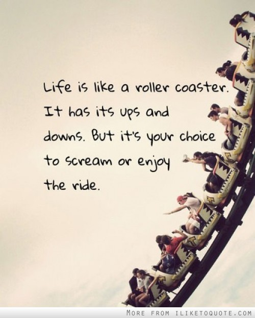 Life is like a roller coaster. It has its ups and downs. But it's your choice to scream or enjoy the ride.