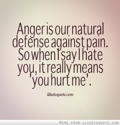"Anger is our natural defense against pain. So when I say I hate you, it really means ""you hurt me."""