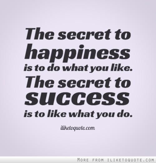 The Secret To Happiness Is To Do What You Like The Secret