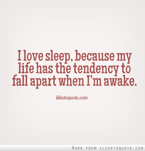 I love sleep, because my life has the tendency to fall apart when I'm awake.