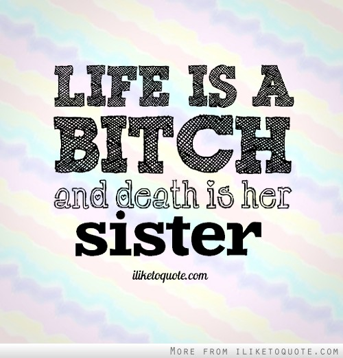 Life is a bitch, and death is her sister.