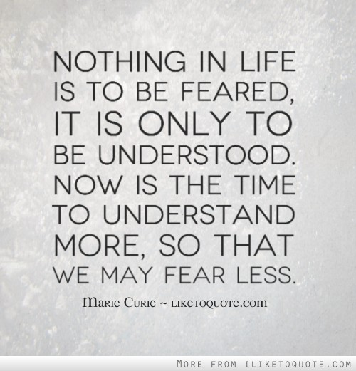 Nothing in life is to be feared, it is only to be understood. Now is the time to understand more, so that we may fear less.