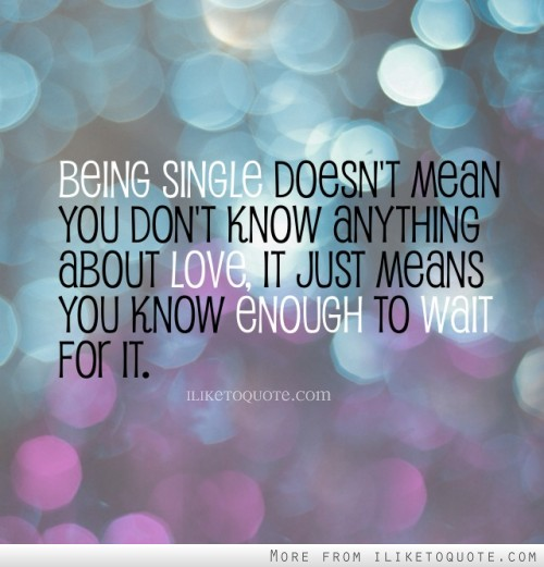 Being single doesn't mean you don't know anything about love, it just means you know enough to wait for it.