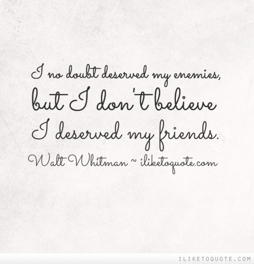 I no doubt deserved my enemies, but I don't believe I deserved my friends.