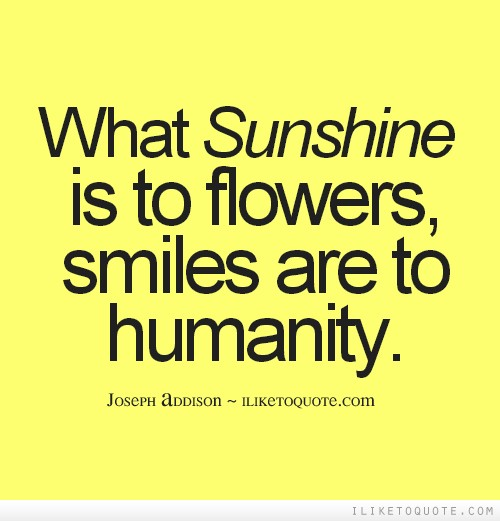 What Sunshine Is To Flowers Smiles Are To Humanity