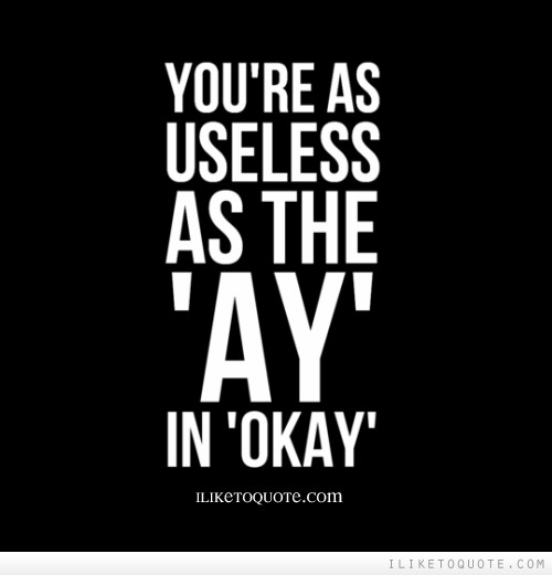 You're as useless as the 'ay' in 'okay'.