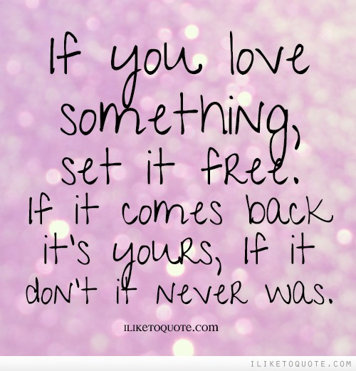 If you love something set it free. If it comes back it's yours, If it don't it never was.