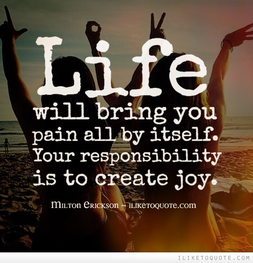 Life will bring you pain all by itself. Your responsibility is to create joy.