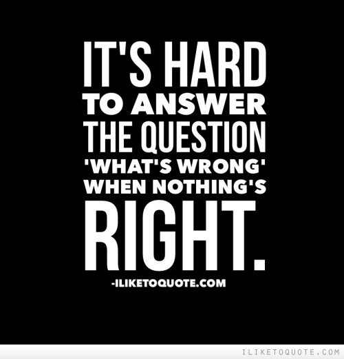 It's hard to answer the question what's wrong when nothing's right.