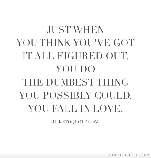 Just when you think you've got it all figured out, you do the dumbest thing you possibly could. You fall in love.
