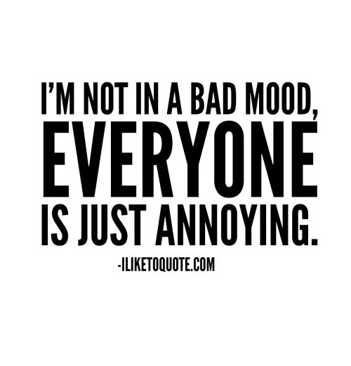 I'm not in a bad mood, everyone is just annoying.