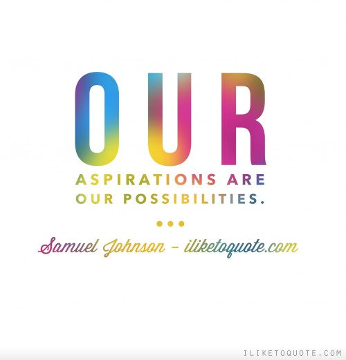 Our aspirations are our possibilities