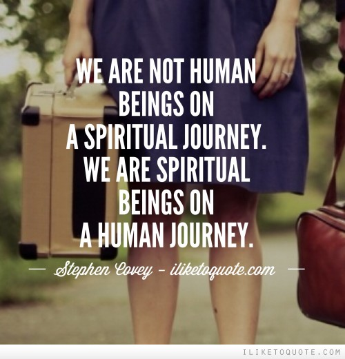 We are not human beings on a spiritual journey. We are spiritual beings on a human journey