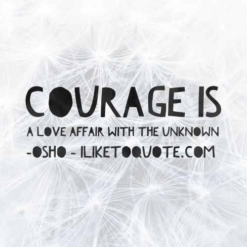 Courage is a love affair with the unknown. - Osho