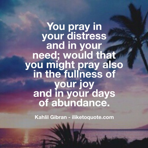 You pray in your distress and in your need; would that you might pray also in the fullness of your joy and in your days of abundance. - Kahil Gibran