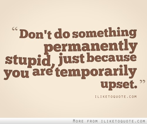 Don't do something permanently stupid just because you are temporarily upset.