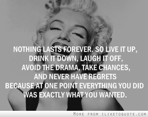 Nothing lasts forever. So live it up, drink it down, laugh it off, avoid the drama, take chances and never have regrets, because at one point everything you did was exactly what you wanted.