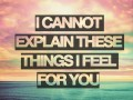 I cannot explain these feelings I feel for you.