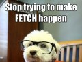 Stop trying to make fetch happen. It's not going to happen.