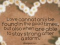 Love cannot only be found in the good times, but also when are able to stay strong after a storm.