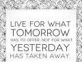 Live for what tomorrow has to offer, not for what yesterday has taken away.