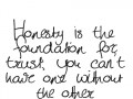 Honesty is the foundation for trust; you can't have one without the other.