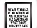 We are stardust, we are golden. We are billion year old carbon and we got to get ourselves back to the garden.