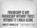 Friendship is not friendship without trust, without it I walk alone.