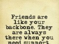 Friends are like your backbone. They are always there when you need support.