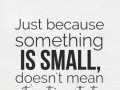 Just because something is small, doesn't mean it's not important.