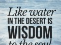 Like water in the desert is wisdom to the soul.