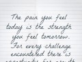 The pain you feel today is the strength you feel tomorrow. For every challenge encountered there is opportunity for growth.
