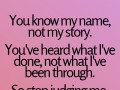 You know my name, not my story. You've heard what I've done, not what I've been through. So stop judging me.