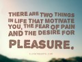 There are two things in life that motivate you, the fear of pain and the desire for pleasure.