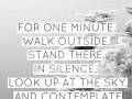 For one minute, walk outside, stand there in silence. Look up at the sky, and contemplate how amazing life is.