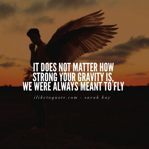 It does not matter how strong your gravity is, we were always meant to fly. - Sarah Kay